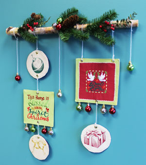 Free project instructions to make a crafty Christmas embroidered wall hanging