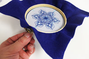 Free project instructions to make embroidery hoop coasters.