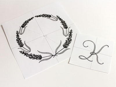 Free project instructions to embroider monograms in wreaths.