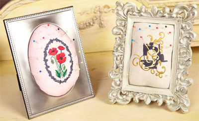 Free project instructions to embroider make a picture-perfect pincushion.