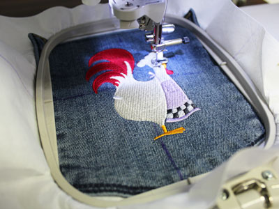 Free project instructions to create a let's dish denim apron.
