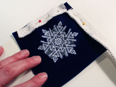Free project instructions to embroider vibrant velvet ornaments.