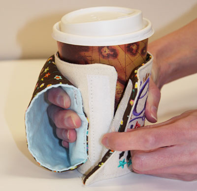 Free project instructions to create a too hot to handle coffee cozy.