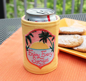 Free project instructions to make a buttoned-up beverage koozie!