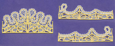 Free project instructions on how to embroider battenburg lace crowns.