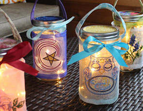Embroidery Library - Embroidered Mason Jar Wrap