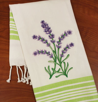 Free project instructions for how to embroider on tea towels.