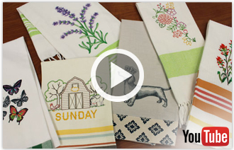 Free video with instructions on how to embroider on tea towels.
