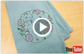 Free video with instructions on how to embroider on floursack towels.