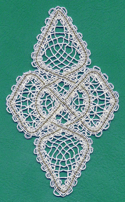 Free project instructions on how to embroider a battenburg lace celtic doily.