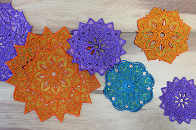 Free project instructions to create multi-color freestanding lace medallions!