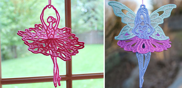 Free project instructions to embroider a 3D Lace Ballerina.