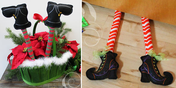 Free project instructions to embroider in-the-hoop boots.
