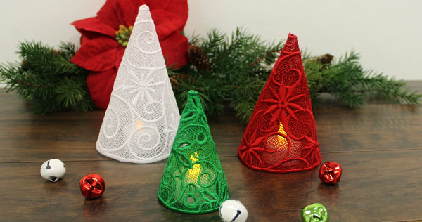 free project instructions to make 3d lace christmas trees - Free Standing Christmas Decorations