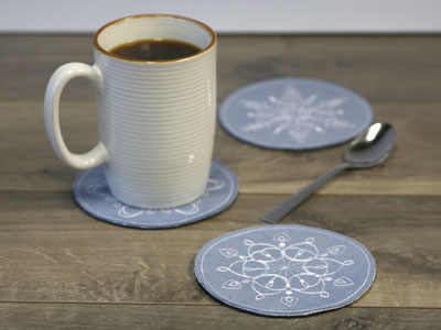 Free project instructions to make In-the-Hoop Coasters.
