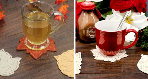 Free project instructions to make In-the-Hoop Leaf Coasters.