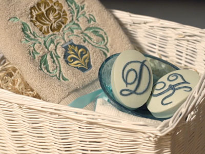 Free project instructions for adding embroidery to soap.