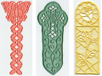 Free project instructions to embroider freestanding lace bookmarks.