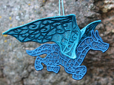 Free project instructions on how to embroider a 3D Lace Dragon.