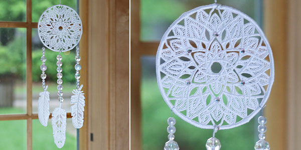 Free project instructions to create a lovely lace dream catcher.