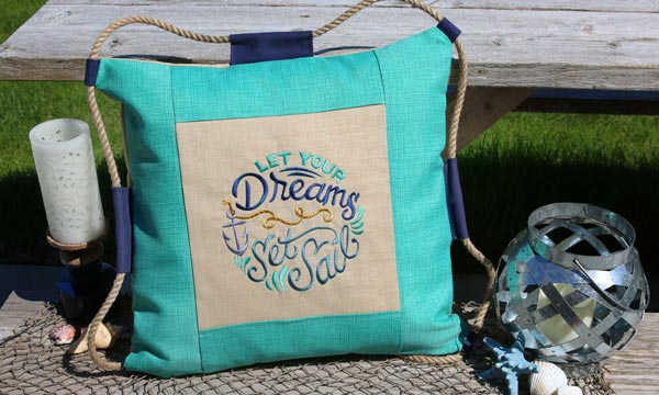 Free project instructions to create a nautical patio pillow.
