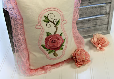Free project instructions to create a lovely lace pillow.