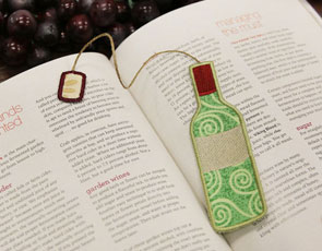 Embroidery Library - Wine Bottle Bookmark, (In-the-Hoop)