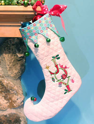 Free project instructions to create an elf Christmas stocking.