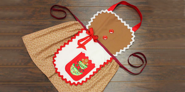 Free project instructions to make a gingerbread apron.