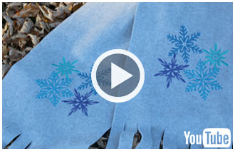 Free video with instructions on how to embroider a no-sew fleece scarf.
