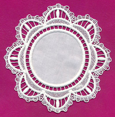 Free project instructions to create a lace and fabric doily.
