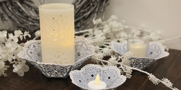 Free project instructions to create a freestanding lace snowflake bowl.