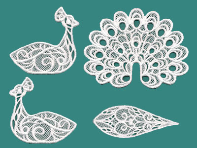 Free project instructions to create a freestanding lace peacock.