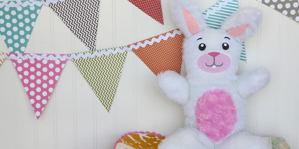 Free project instructions to create a cuddle-up bunny.