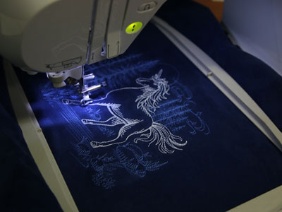 Free project instructions how to embroider with glow thread.