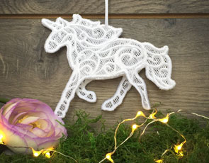 Embroidery Library - 3D Freestanding Lace Unicorn
