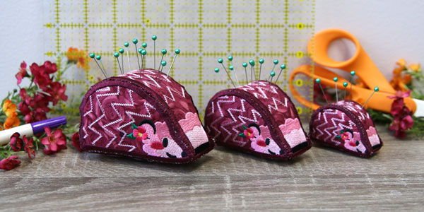 Free project instructions to create an In-the-Hoop Hedgehog Pincushion.