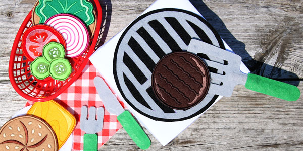 Free project instructions to create a felt play grill set.