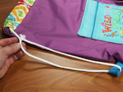 Free project instructions to make a drawstring backpack