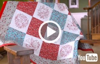Free project instructions on quilting with embroidery designs.
