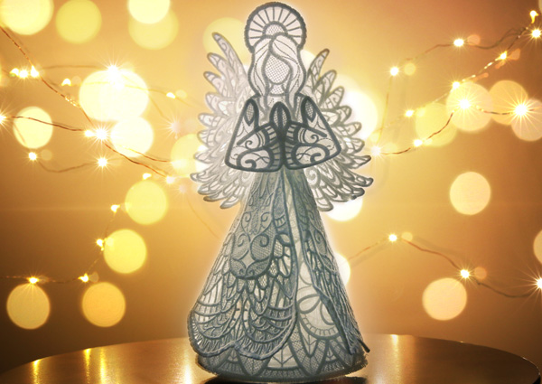 Free project instructions to create a 3D Lace and Organza Angel