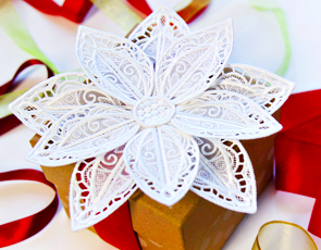 Embroidery Library - 3D Lace & Organza Poinsettia