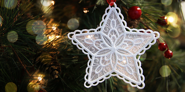 Free project instructions to create a lace organza ornament.