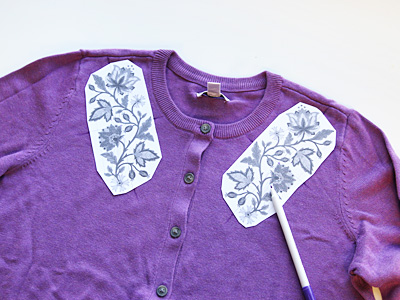Free project instructions on how to embroider on cardigans.