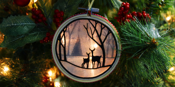 Free project instructions to create an organza shadowbox ornament.