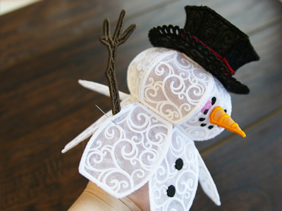 Free project instructions to create a freestanding lace and organza snowman.