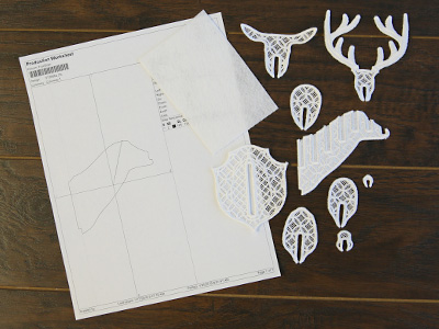 Free project instructions to create an embroidered 3D lace deer head.