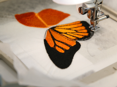 Free project instructions for creating free flying embroidery, in-the-hoop.