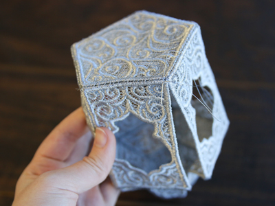 Free project instructions for creating a 3D lace lantern.