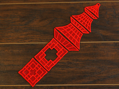 Free project instructions for creating a Pagoda Lantern in 3D (Lace)
